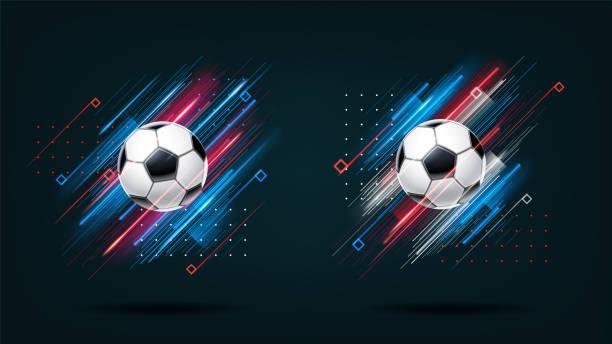 futbol kupası 2018, futbol şampiyonası resimde kümesi. siyah arka plan üzerine izole dinamik neon parlak çizgiler. gerçekçi 3d top. holografik öğesi tasarım kartları, davetiyeler, el ilanı broşür için - football stock illustrations
