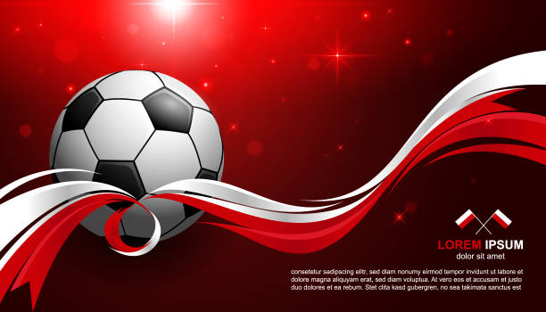 football cup championship with glow light background polandia flag soccer - polish flag stock illustrations