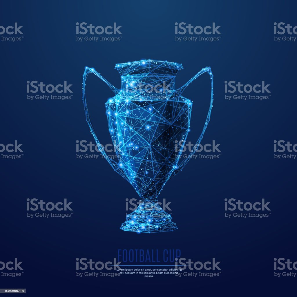 Football cup low poly blue vector art illustration