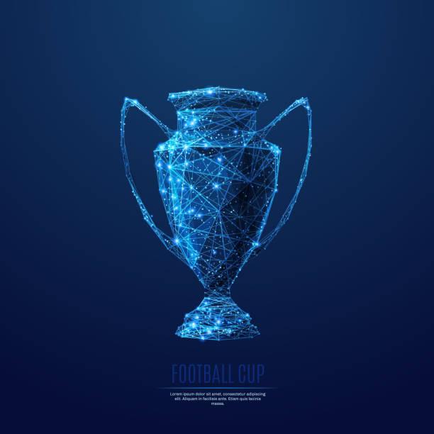 Fußball WM low-Poly blau – Vektorgrafik