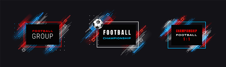 Football cup, soccer championship illustration. Vector frames with linear brushes isolated on black background. Glitch effect. Holographic element for design cards, invitations, flyers brochures