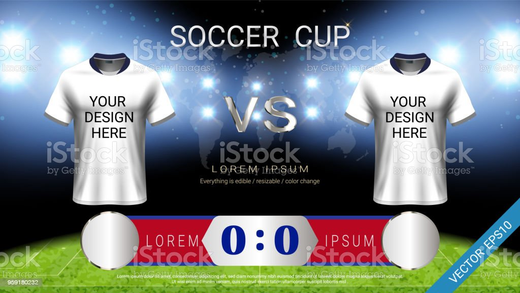 Football Cup Template For Sport Event Soccer Jersey Mockup And ... fc7880bd2