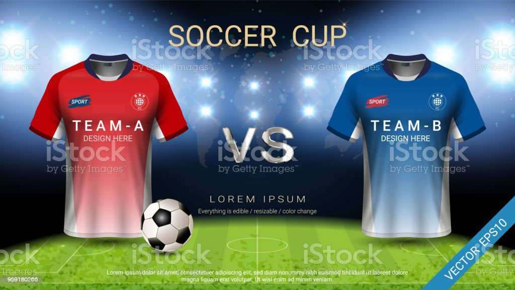 Football cup template for sport event, Soccer jersey mock-up and...