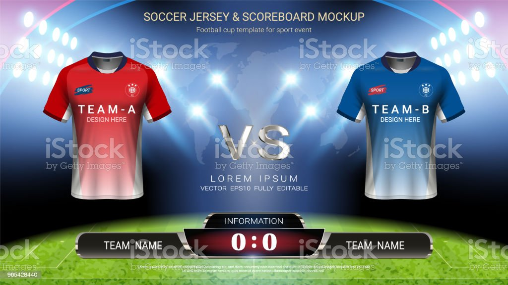 Football cup template for sport event, Soccer jersey mock-up and scoreboard match vs strategy broadcast graphic template, For your presentation of the match results ( EPS10 vector fully editable ) football cup template for sport event soccer jersey mockup and scoreboard match vs strategy broadcast graphic template for your presentation of the match results - stockowe grafiki wektorowe i więcej obrazów bez ludzi royalty-free