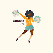 Vector illustration with cheerleaders in athletic poses. Soccer players. Flat illustration.