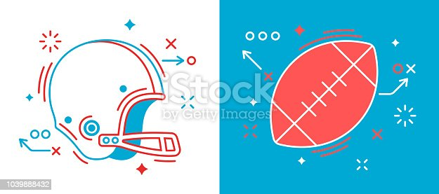 American football line drawing symbol elements. Football ball and helmet design.