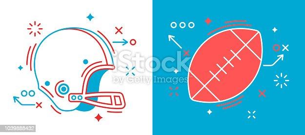 American football line drawing symbol elements. Football ball and helmet design.