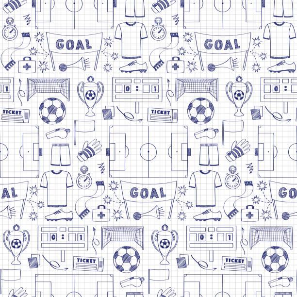 Patrón sin fisuras de fútbol C/ - ilustración de arte vectorial