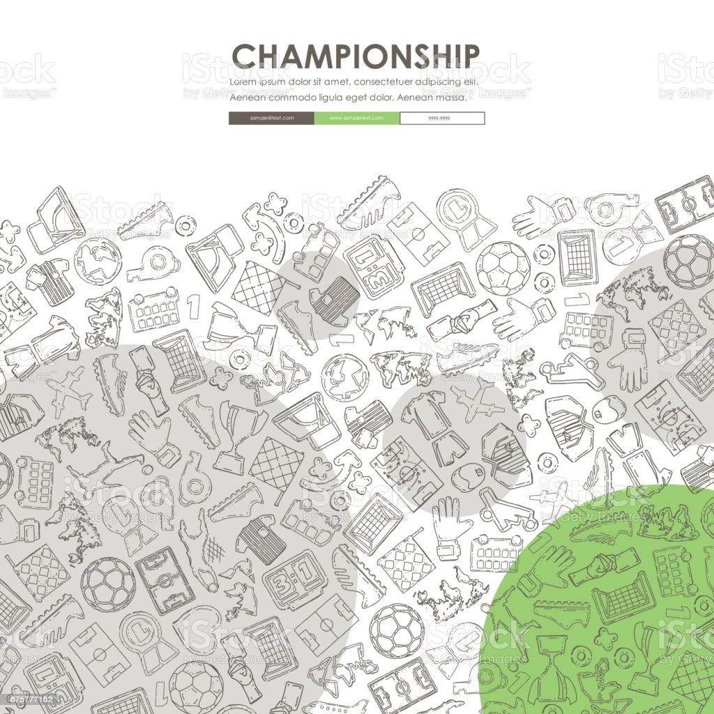 football Doodle Website Template Design vector art illustration