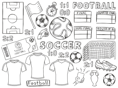 Football doodles set soccer sketch