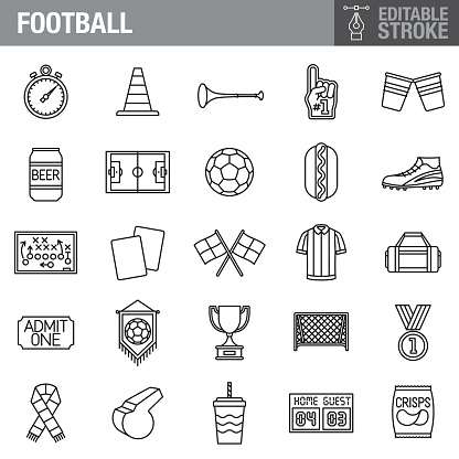 Football (Soccer) Editable Stroke Icon Set