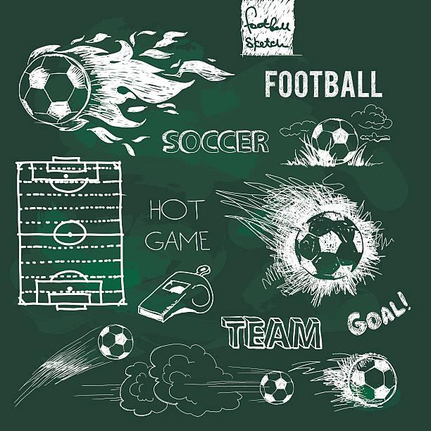 bildbanksillustrationer, clip art samt tecknat material och ikoner med football elements and ball on green chalkboard - fotboll eld