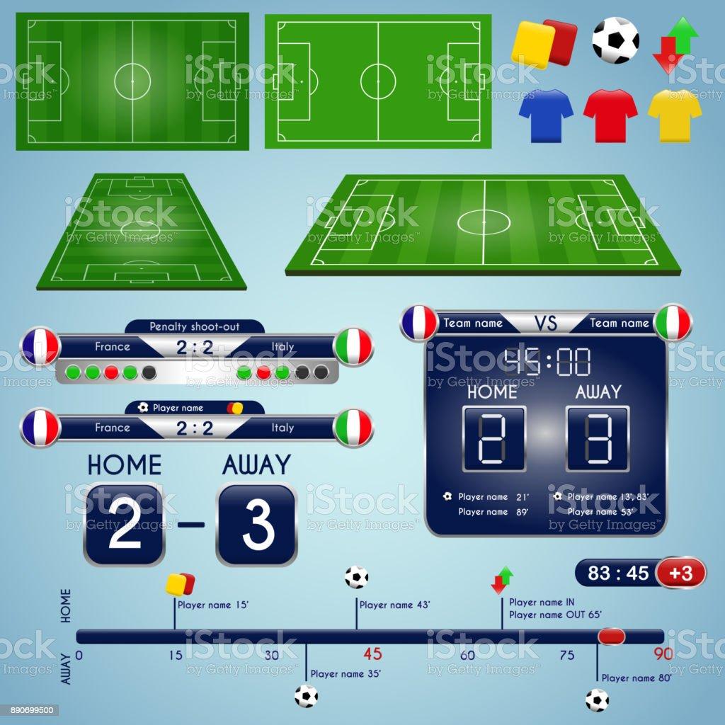 Fußball-Elemente und Spielwiese – Vektorgrafik