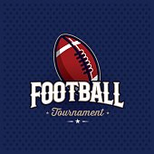 Modern professional football tournament symbol with ball. Sport badge for team, championship or league. Vector illustration.