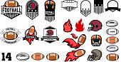 football emblems design elements. Retro vector design labels, badges, graphic element, emblem, logo, insignia, sign, identity, logotype, poster.