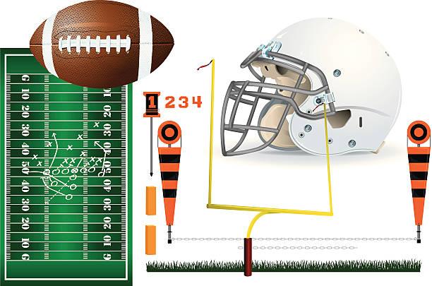 ilustrações de stock, clip art, desenhos animados e ícones de fundo de equipamento de futebol - primeiro down futebol americano