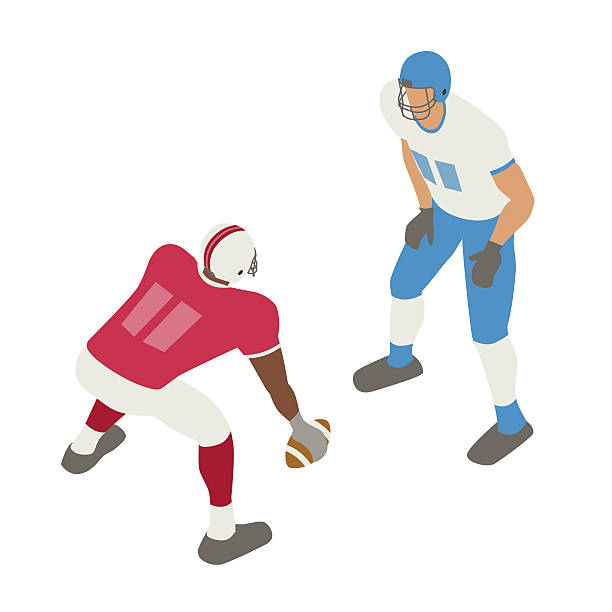 Football face off illustration Royalty free illustration of two football players facing off is presented in isometric view, in a flat vector style on a white background. line of scrimmage stock illustrations