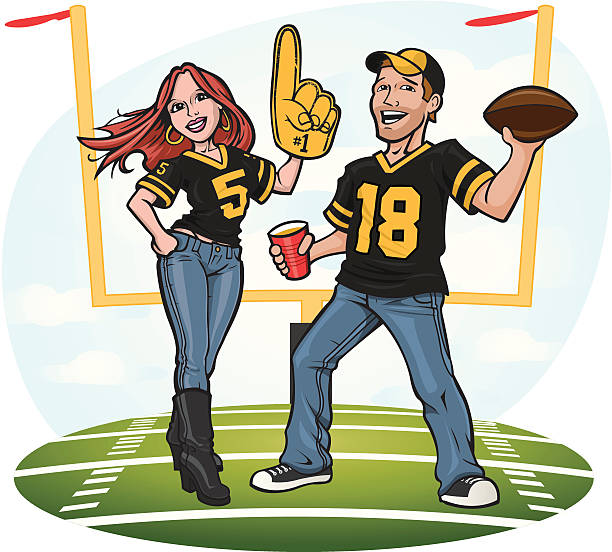 Football Fan Couple Here are a couple of football fans doing a little tailgating and getting ready for the big game!  A perfect football graphic for game day. american football uniform stock illustrations