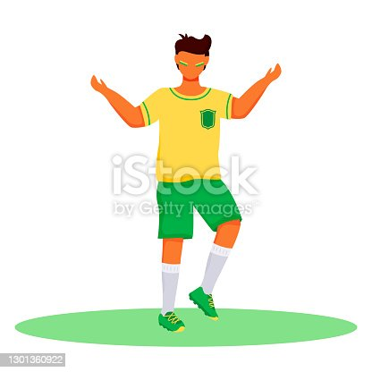 istock Football fan flat color vector faceless character. Standing teenager with brazilian flag colors strips on cheeks. Latino boy in sportswear isolated cartoon illustration for web design and animation 1301360922