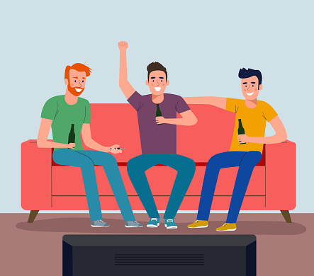 Football fan watching soccer on the TV. Vector flat style illustration