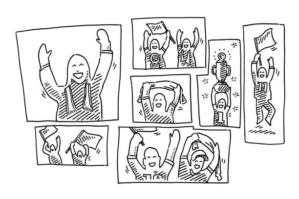 Football Fans Cheering At Home Drawing Hand-drawn vector drawing of Football Fans Cheering At Home. Black-and-White sketch on a transparent background (.eps-file). Included files are EPS (v10) and Hi-Res JPG. american football stock illustrations