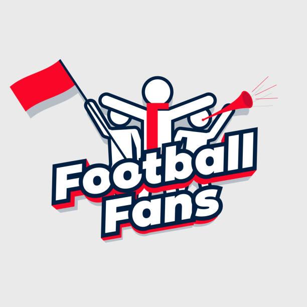 ilustrações de stock, clip art, desenhos animados e ícones de football fans cheering team. group sport fans with football fans lettering. - soccer supporter portrait
