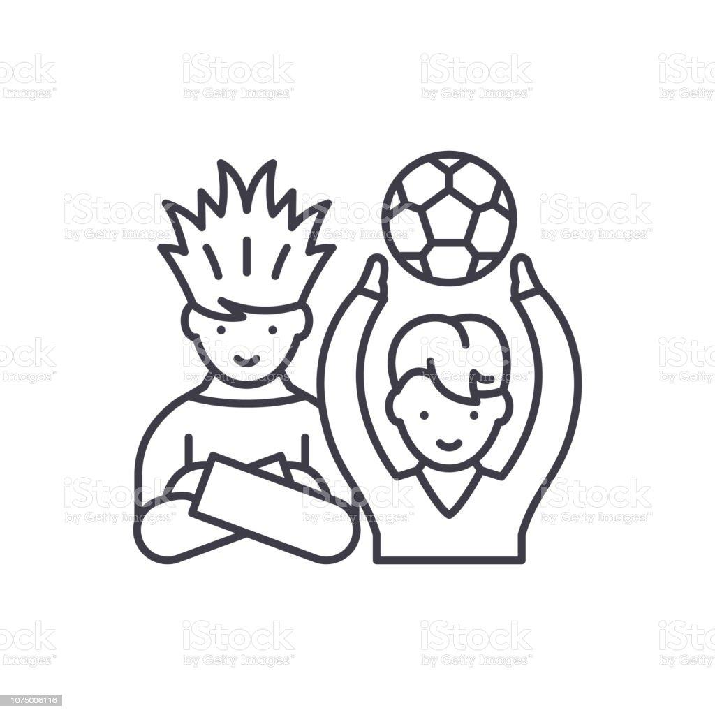 Fussballfans Saumen Symbol Konzept Fussballfans Vektorlineare