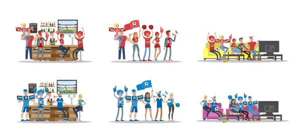 Football fans set. Football fans set. Two teams in bar and home. fan enthusiast stock illustrations
