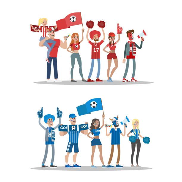 fußball-fans setzen. - fussball fan stock-grafiken, -clipart, -cartoons und -symbole