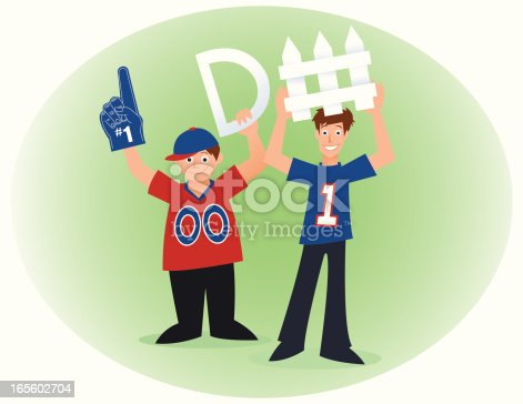 Vector illustration of two football fans holding up a sign that spells defense.