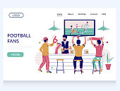 Football fans vector website template, landing page design for website and mobile site development. Group of people soccer fans drinking beer and watching football match in sport bar, pub.