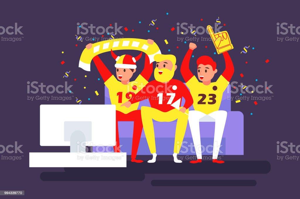 Fussballfans Sehen Das Spiel Im Fernsehen Auf Der Couch
