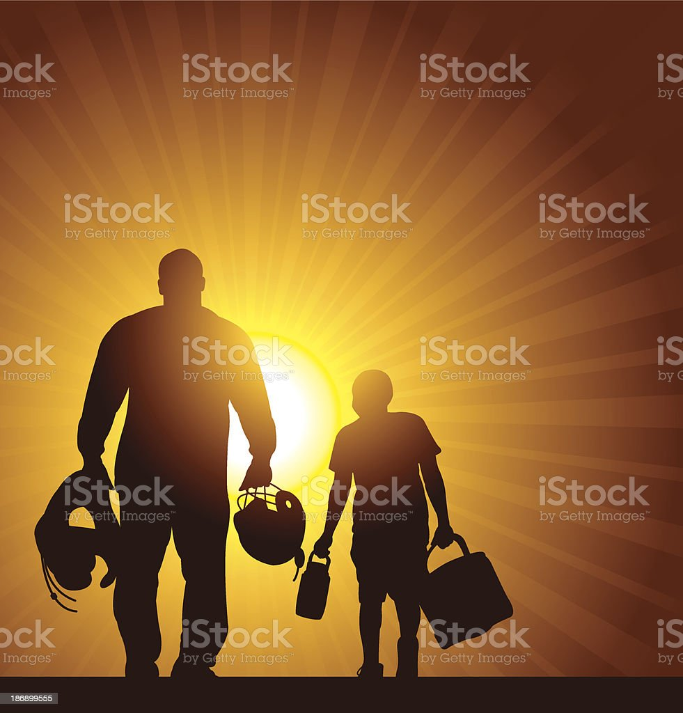 Football Father and Son Background royalty-free stock vector art