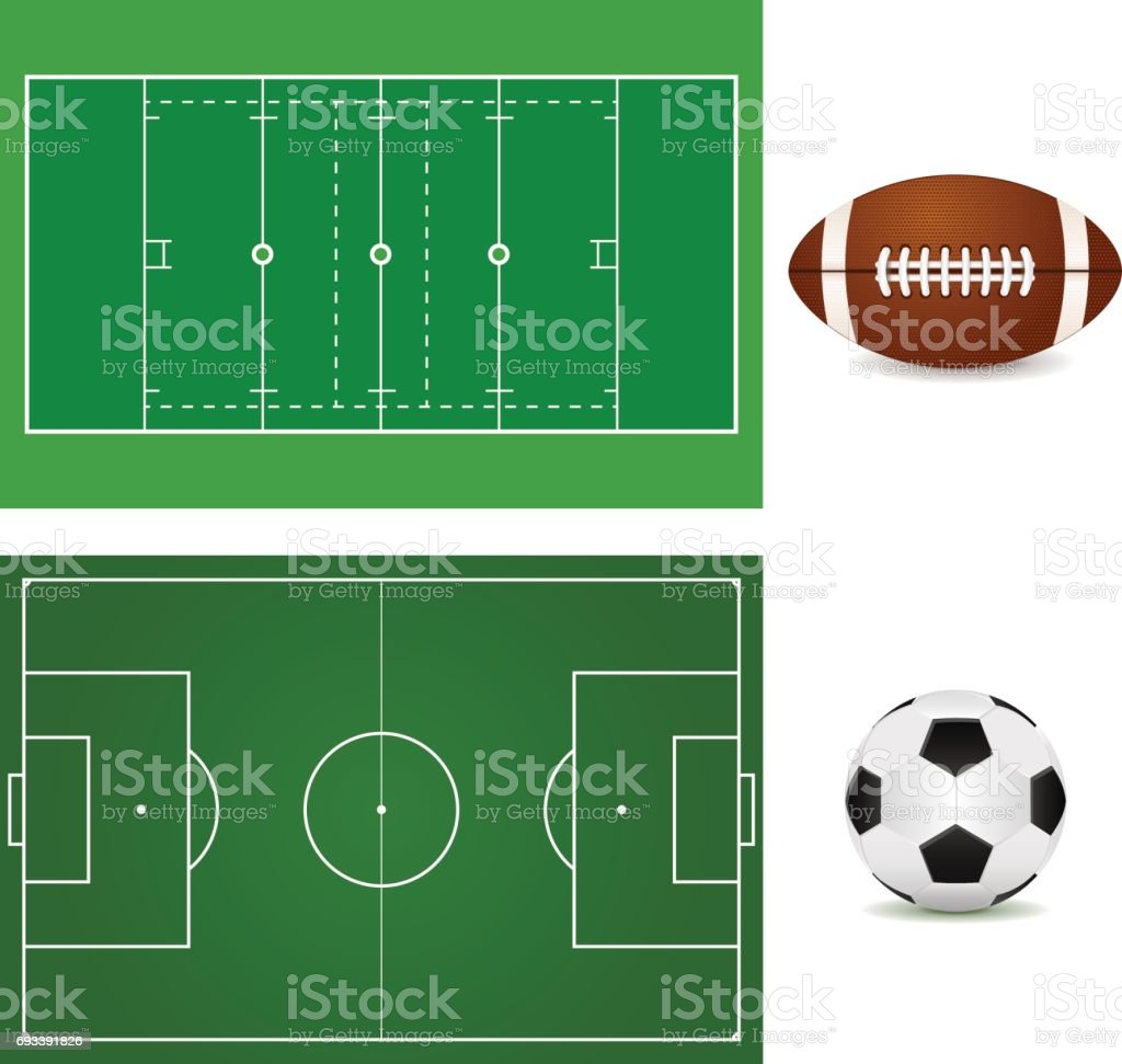 Football field and Soccer ball. American football ball.   isolat vector art illustration