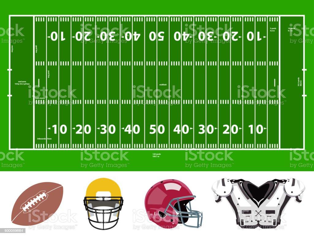 football field and stuff icons vector art illustration