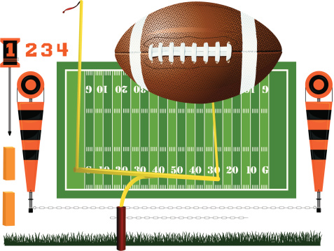 Football Field Ball Goal Post And Yard Markers Stock ...