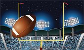 Football Field Goal Under Stadium Lights Background