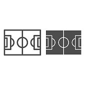 Football field line and glyph icon. Pitch vector illustration isolated on white. Stadium outline style design, designed for web and app. Eps 10