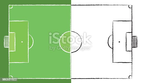 football field or soccer field chalk lines on a board in colors and