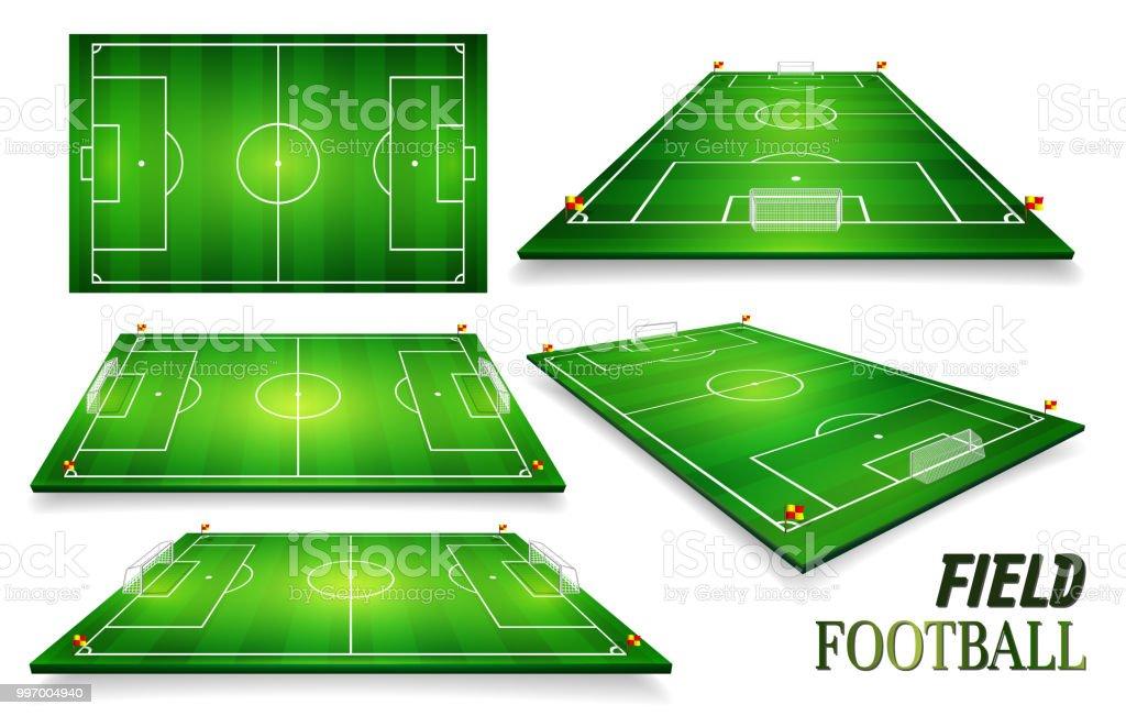 Fussballplatz Fussball Feld Gesetzt