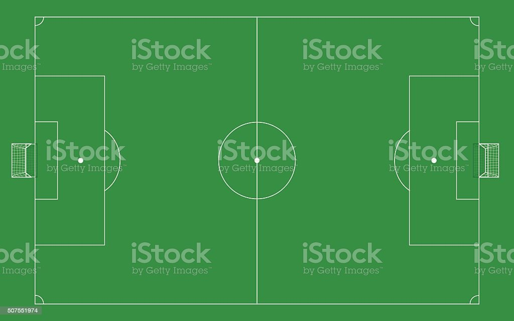 Football Field Template With Goal On Top View Stock Vector Art