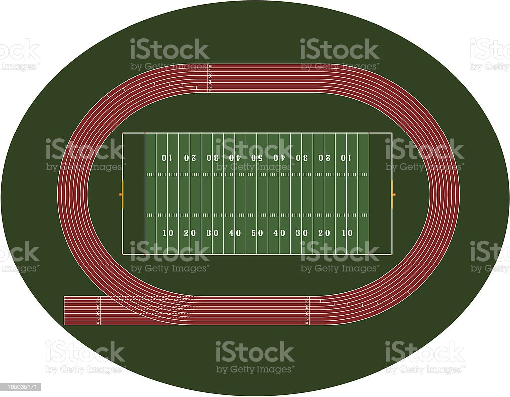 Football Field & Track Orthographic vector art illustration