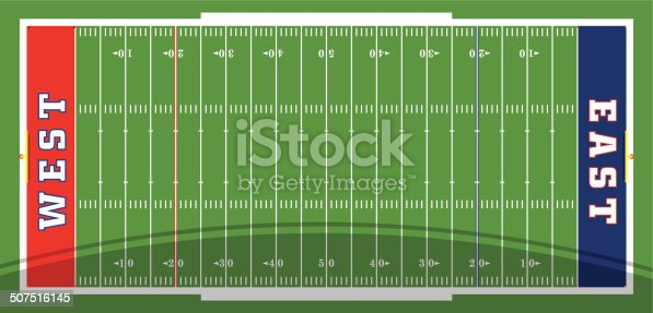 Football field vector features yard lines, colored end zones, and goal posts. Customize with your own colors, text and logos.