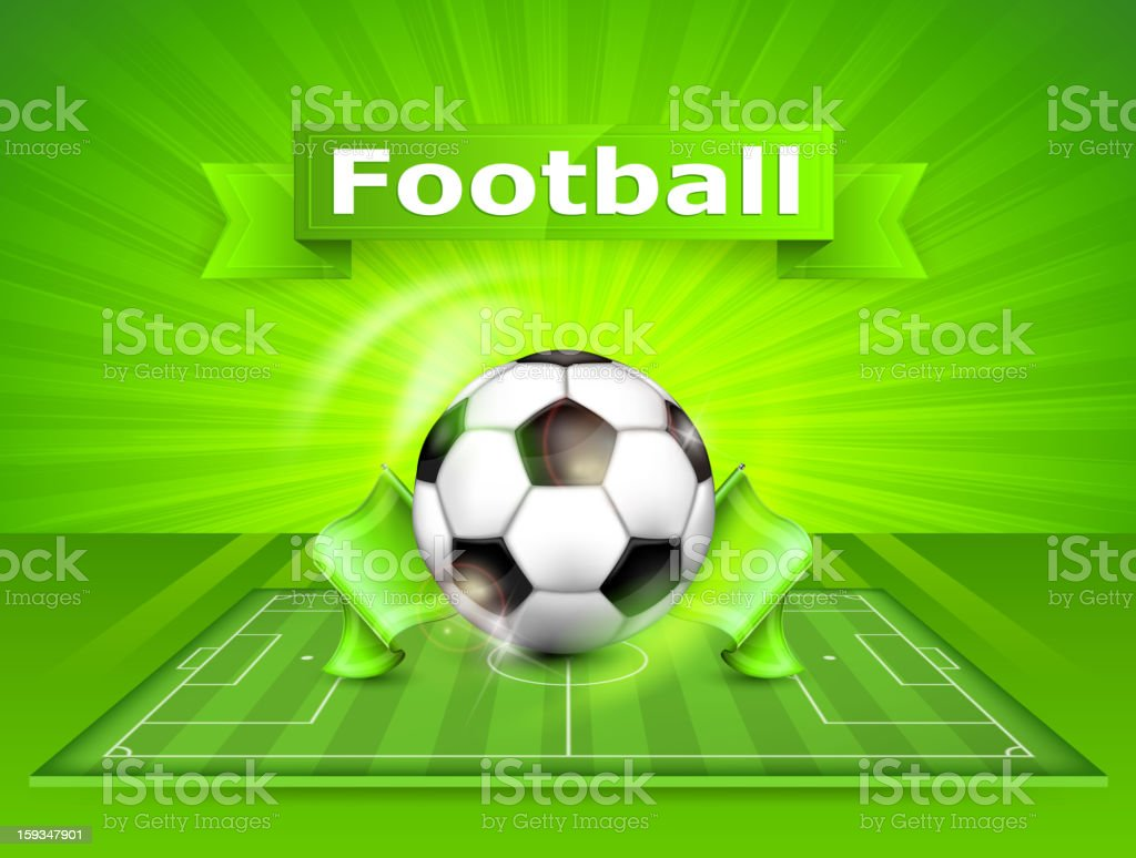 Football (soccer) field with ball and text royalty-free stock vector art