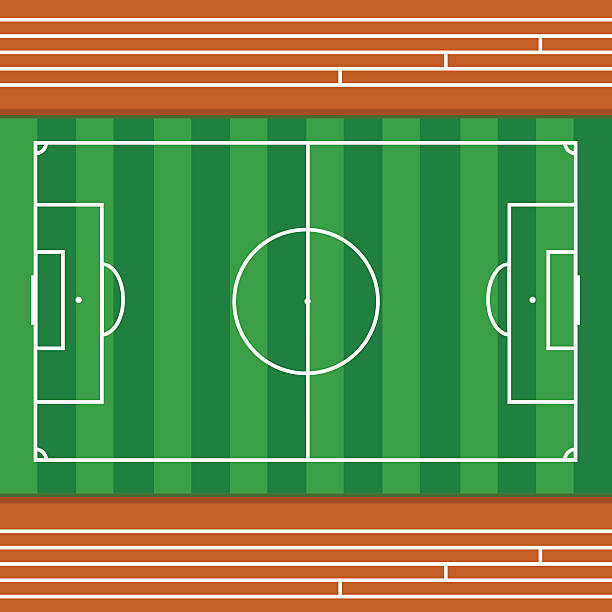 football field with race track top view vector illustration の