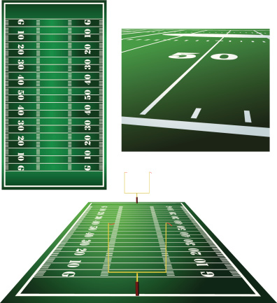 Football Fields Goal Posts And Fifty Yard Line Background ...