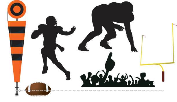 ilustrações de stock, clip art, desenhos animados e ícones de em primeiro lugar, quarterback de futebol para baixo, a defesa, trave, fãs - primeiro down futebol americano