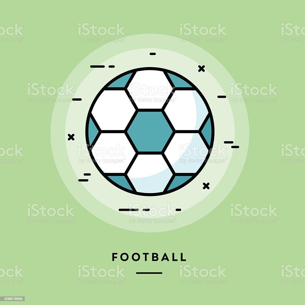 Football, flat design thin line banner vector art illustration