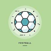 Football, flat design thin line banner