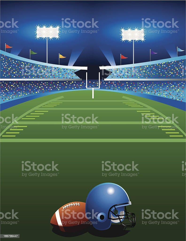 Football Game at Night vector art illustration